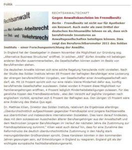 Ausschnitt Deutsche Anwaltszeitung